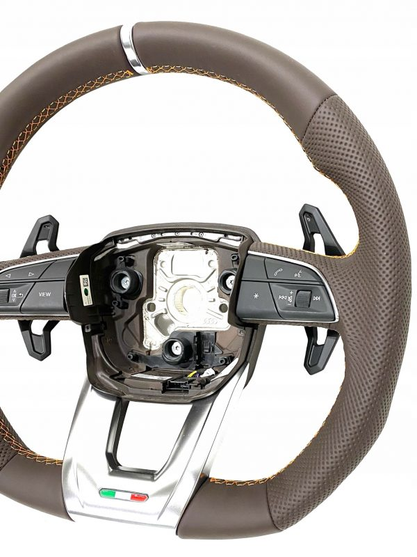 Lamborghini Urus Leather Steering Wheel Brown/Orange Stitches OEM